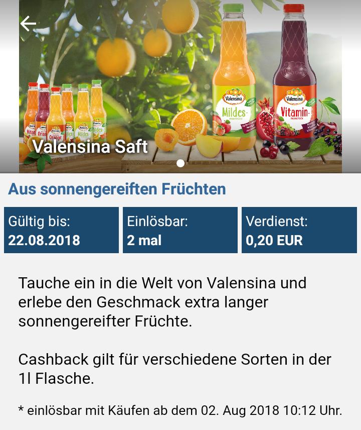 [Rewe und Real Berlin + Reebate] Valensina 1l. versch. Sorten