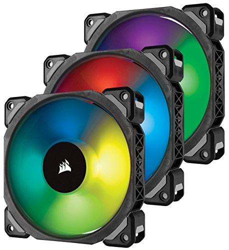 [Amazon Blitzangebot] 3er-Pack - Corsair ML120 Pro RGB LED 120mm PC-Gehäuselüfter (mit Magnetschwebetechnik, PWM, mit Lighting Node und Hub) Schwarz