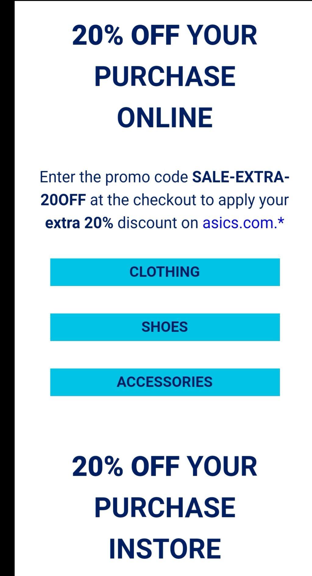 Bei asics gibt es auf Sales Klamotten und Zubehör nochmal 20 % Rabatt