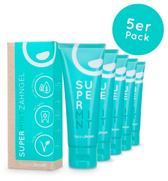 Happybrush Supermint Zahnpasta 5er Pack (Vegan) - 50% Rabatt