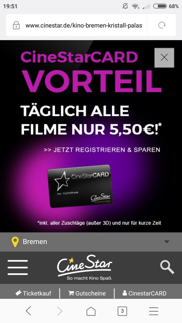 [LOKAL Bremen, Bielefeld] Alle Filme mit CineStar Card für 5,50 €/Ticket