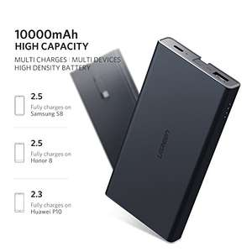 UGREEN Quick Charge 3.0 Powerbank USB C - 10000mAh Typ C 18W QC3 (USB-C Kabel integriert)
