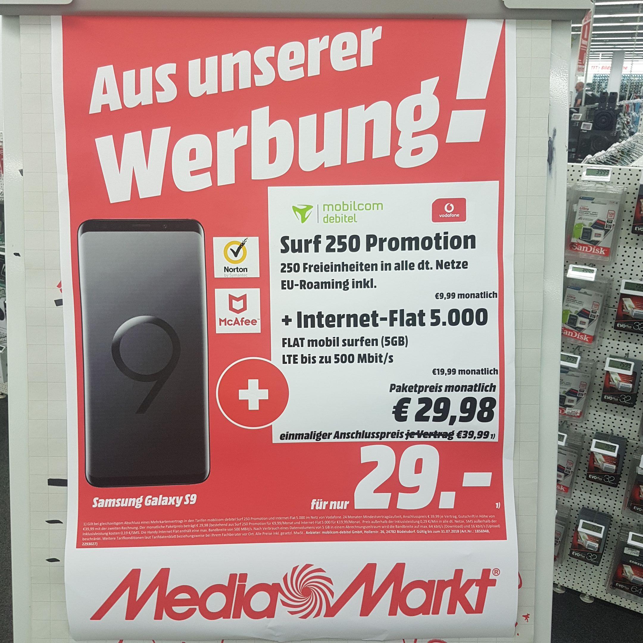 BEI MEDIAMARKT Hamburg NEDDERFELD S9 64GB MIT 250 FREIMINUTEN + 5 GB IM VODAFONE LTE NETZ