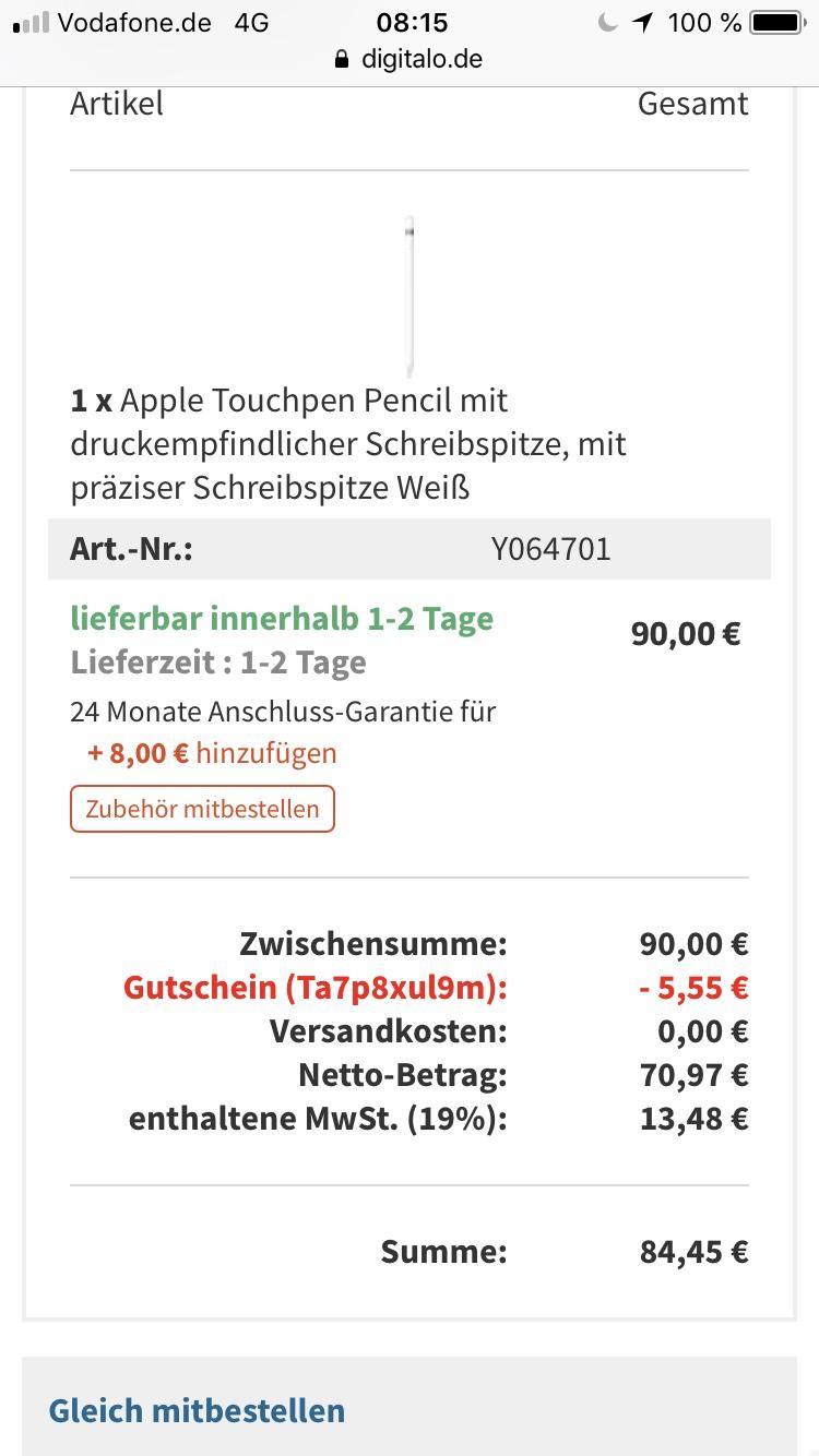 Apple Pencil, ohne Masterpass!