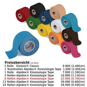Alpidex® Kinesiologie Kinesio Tape - 6 Rollen für nur 22,99 €