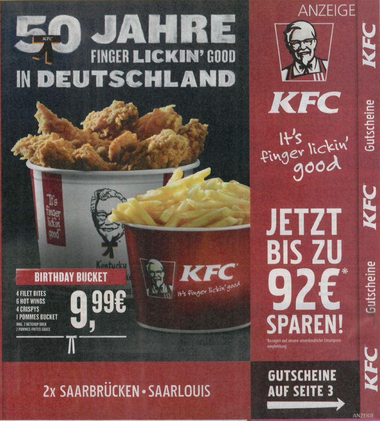 KFC Gutscheine Saarbrücken / Saarlouis