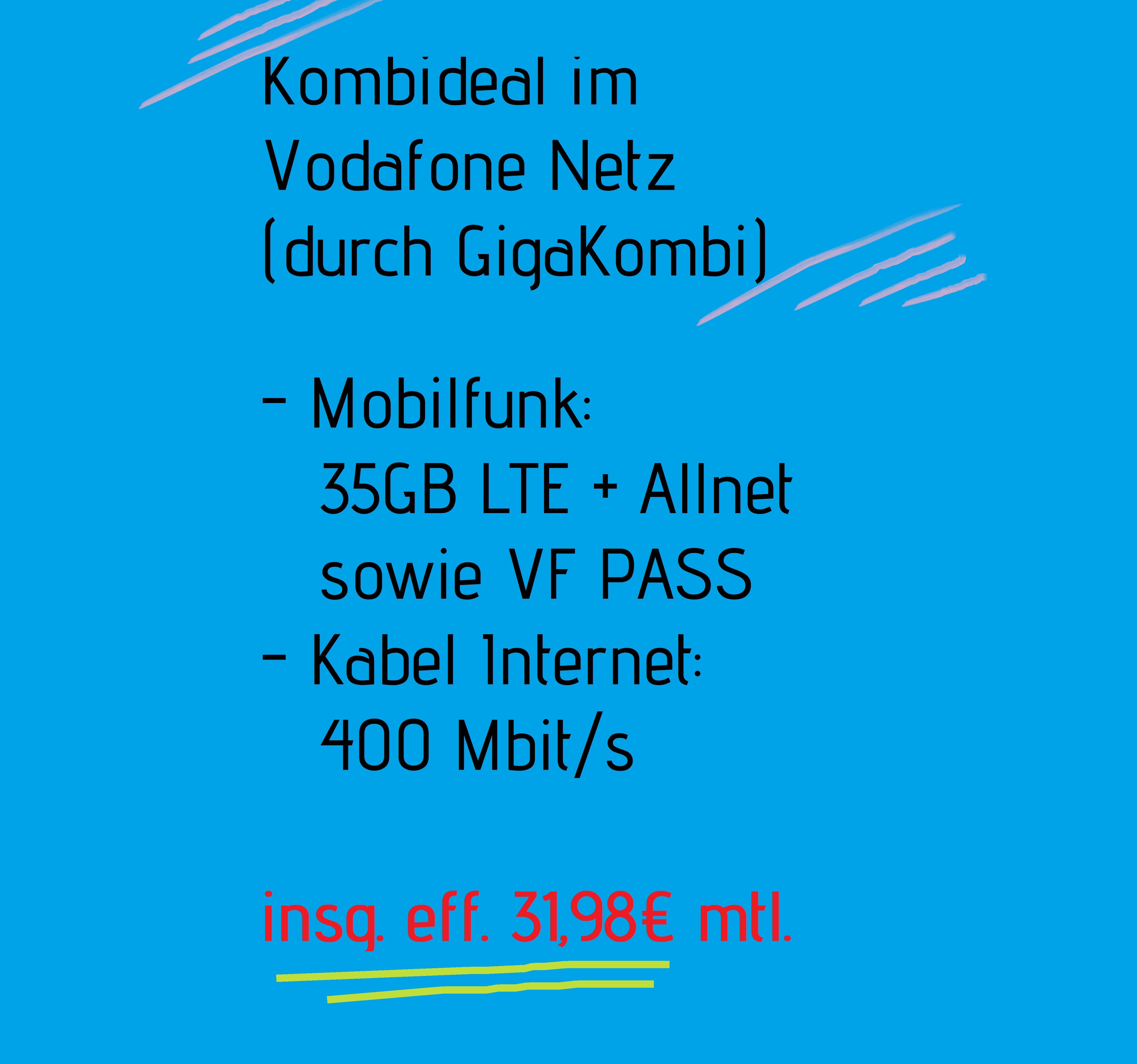 [VF Young] 25GB LTE + ALLNET eff. 26,99 mtl. | mit GK 35GB eff. 16,99€ sowie Kabel 400 eff. 14,99 mtl.