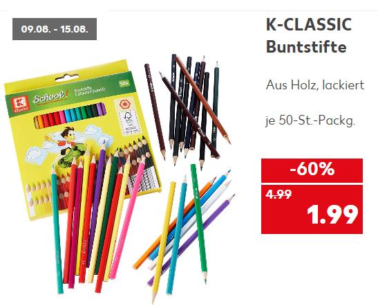50-St.-Packg. Holz-Buntstifte ( FSC Zeichen) für 1,99 € @ Kaufland ab 09.08.