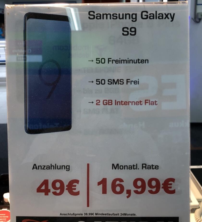 Samsung S9 + Smart Surf 2GB - mtl. 16.99€ [Lokal Saturn MOERS ggf. Bundesweit]