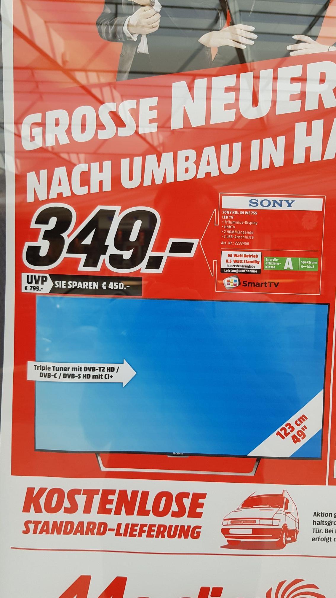 (Lokal München) Sony KDL-49WE755 für 349€ in jedem Münchner MediaMarkt + kostenlose Lieferung innerhalb von 35km + Zahlreiche HP Laptops + Sony Alpha 7