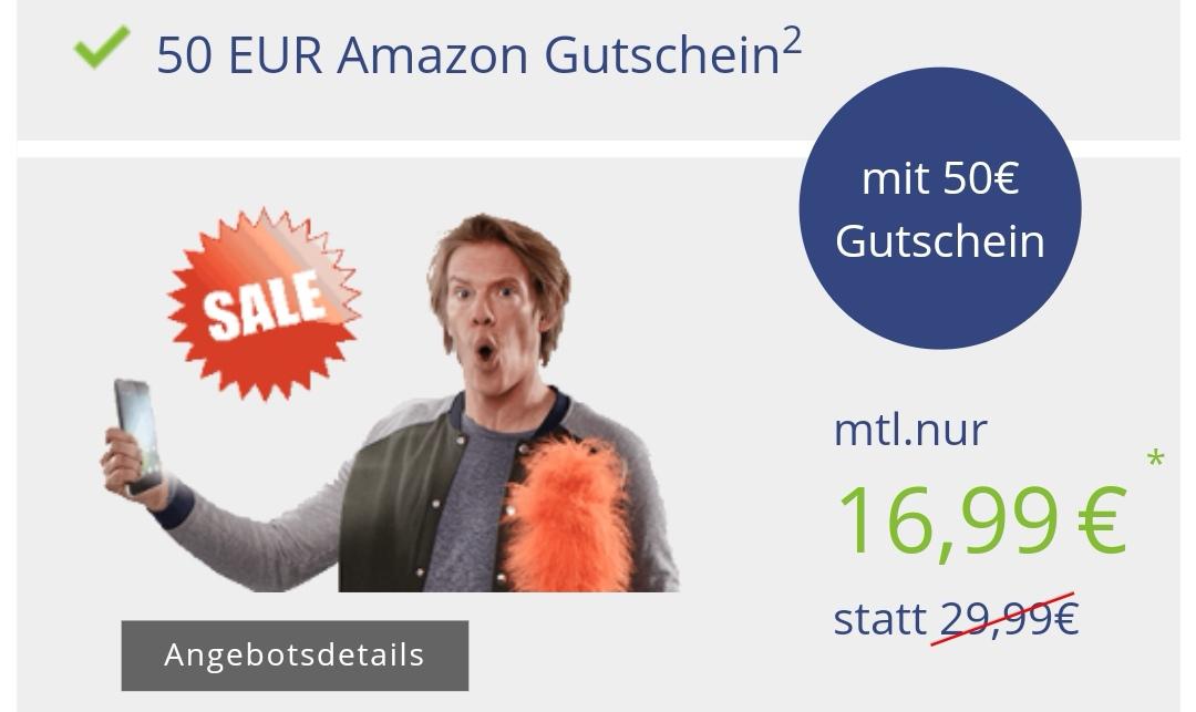 Klarmobil Allnet Flat 6000 (Vodafone) mit 6GB Datenvolumen, Allnet & SMS Flat für 16,99€ / Monat + 50€ Amazon Gutschein