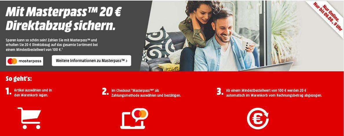 Masterpass-Aktion: 20€ Direktabzug ab einem MBW von 100,-€ auf das* GESAMTE SORTIMENT *außer den üblichen Verdächtigen***Wieder da!!