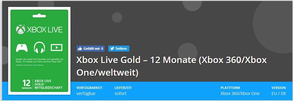 Xbox Live Gold für Top Preis 33,99€