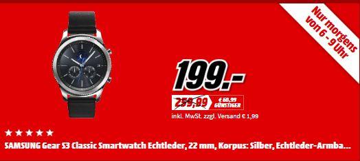 Samsung Gear S3 Classic (3,3 cm (1,3 Zoll) Display, NFC, Bluetooth, WLAN, Tizen OS), mit Echtleder-Armband für 199,-€ [Mediamarkt ab 06.00]