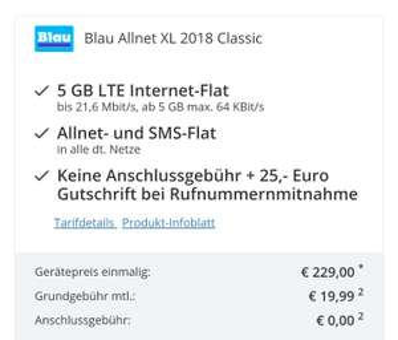 ipad 128 gb lte + blau allnet mit 5 gb lte / eff.=11,15€