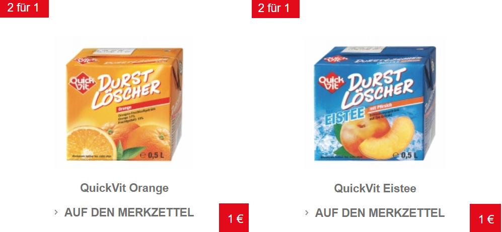 [Euroshop] 2x QuickVit Durstlöscher Orange oder Eistee Pfirsich 0,5l für 1€