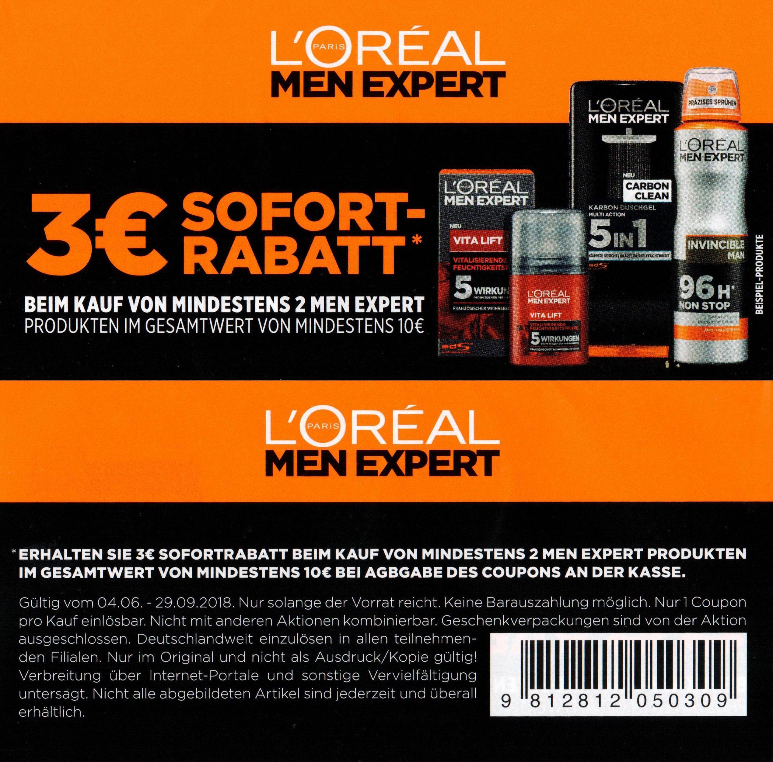 Neuer 3,00€ Coupon für min. 2x L'Oréal Men Expert Produkte im Wert von min. 10€ bis 29.09.2018 [Bundesweit]