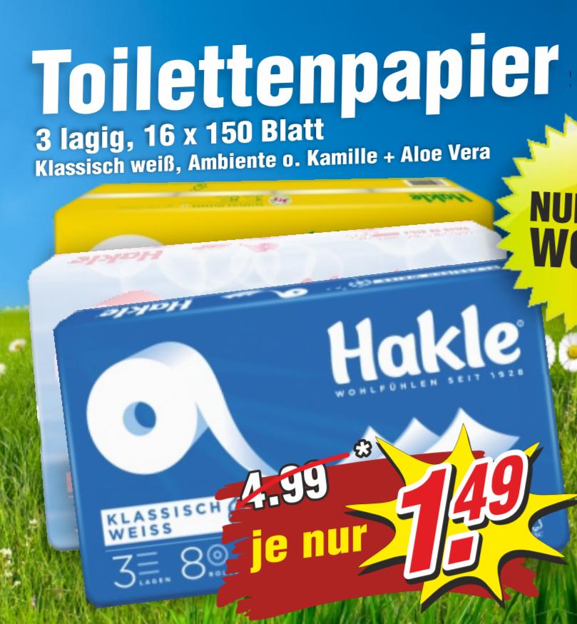 [Ribnitz-Damgarten] 24x Hohes C Naturelle Apfel-Kirsch oder Weißer Tee+Pfirsich 0,5l für 5€ und Hakle Toilettenpapier 16x150 Blatt 3-lagig für 1,49€