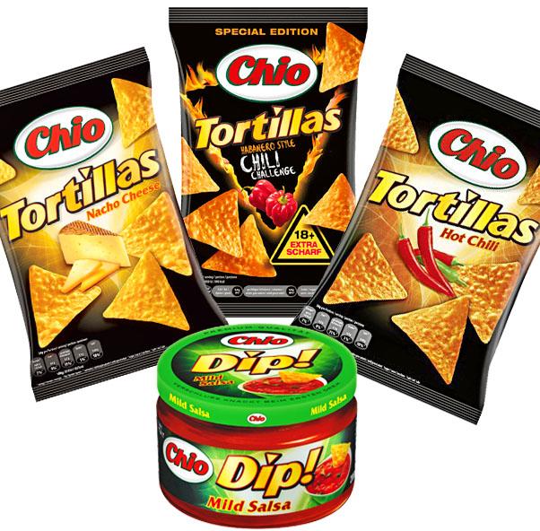 (real) 3 Tüten Chio Tortilla Chips plus ein gratis Glas Chio Dip