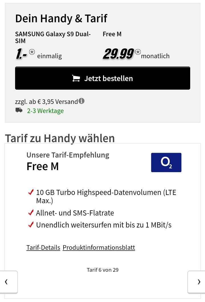 Samsung Galaxy S9 für 1 EUR mit o2 Free M 10 GB 29,99/Mo.
