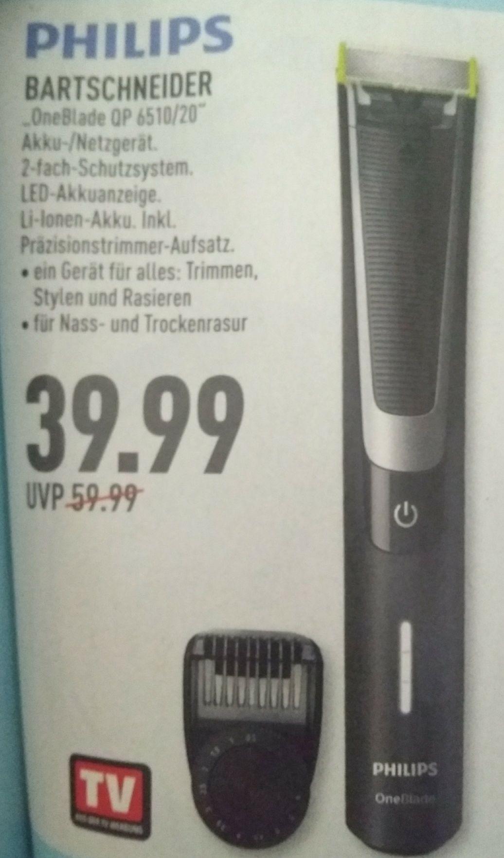 [Ab 05.08] [Marktkauf Rhein Ruhr] Phillips One Blade Bartschneider QP 6510/20  für 39,99€