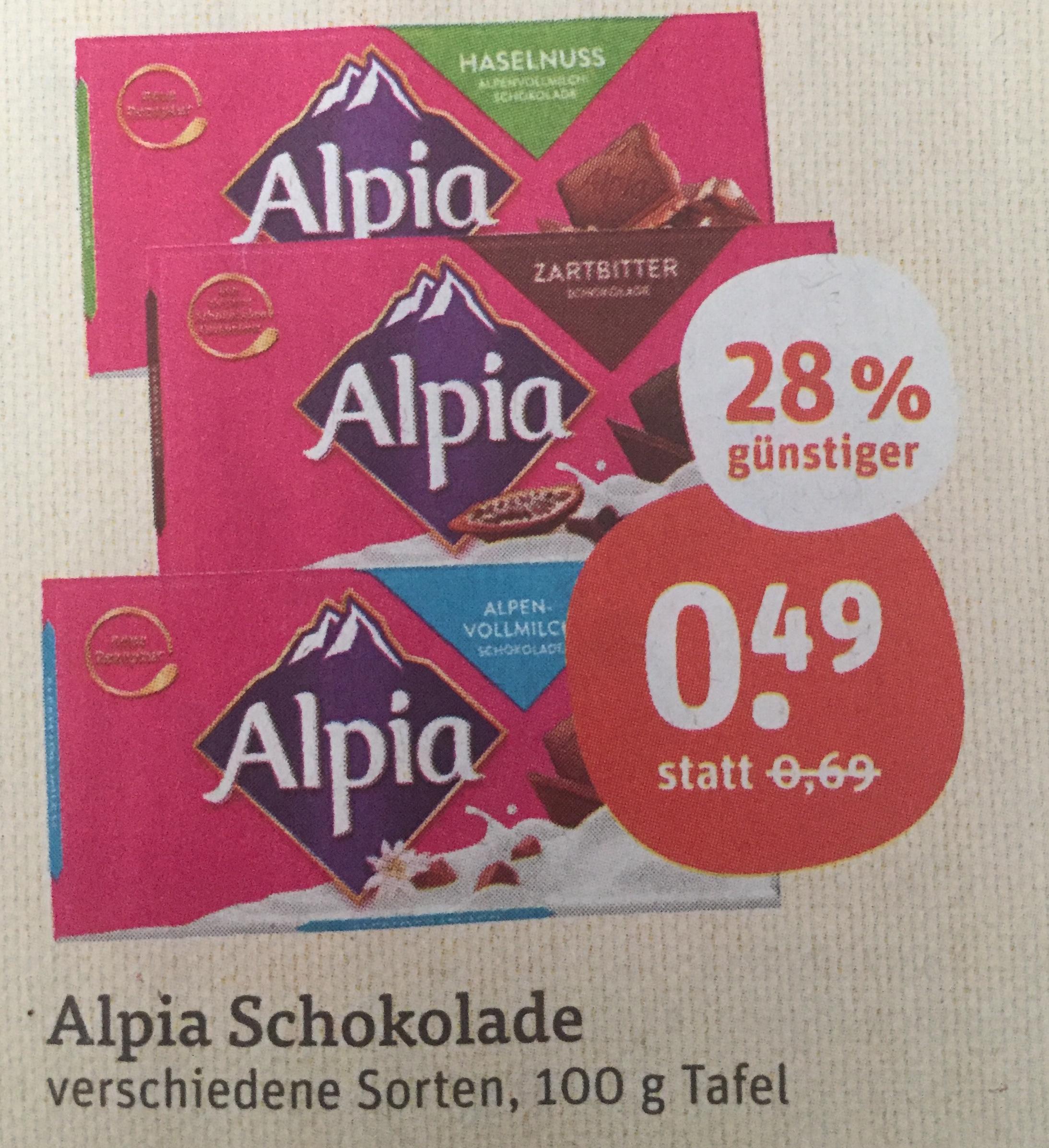 [tegut] Alpia Schokolade 100g Tafel 0,49 Euro