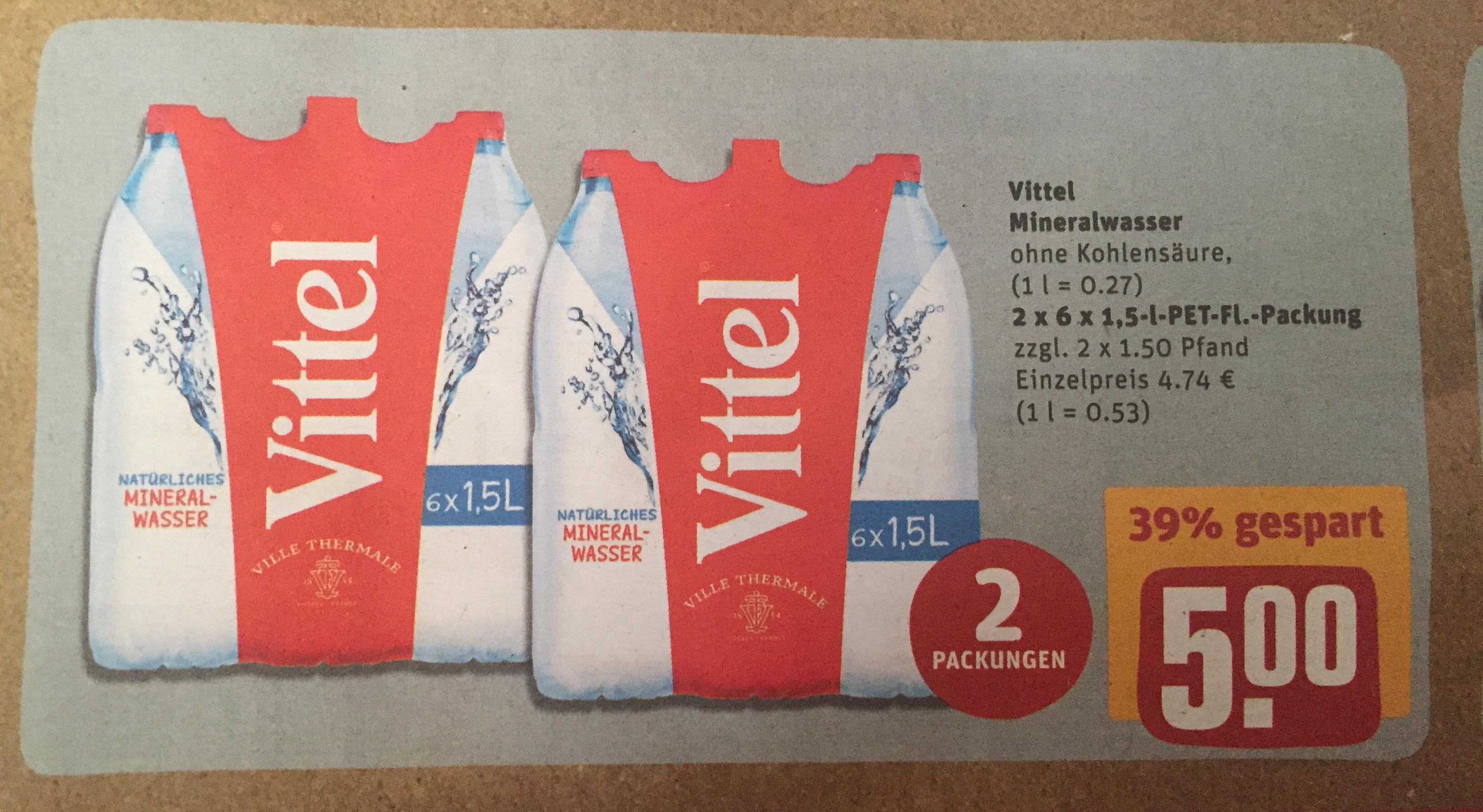 [Rewe] 2x 6x1,5 Liter VITTEL Mineralwasser => 0,27 Euro/Liter