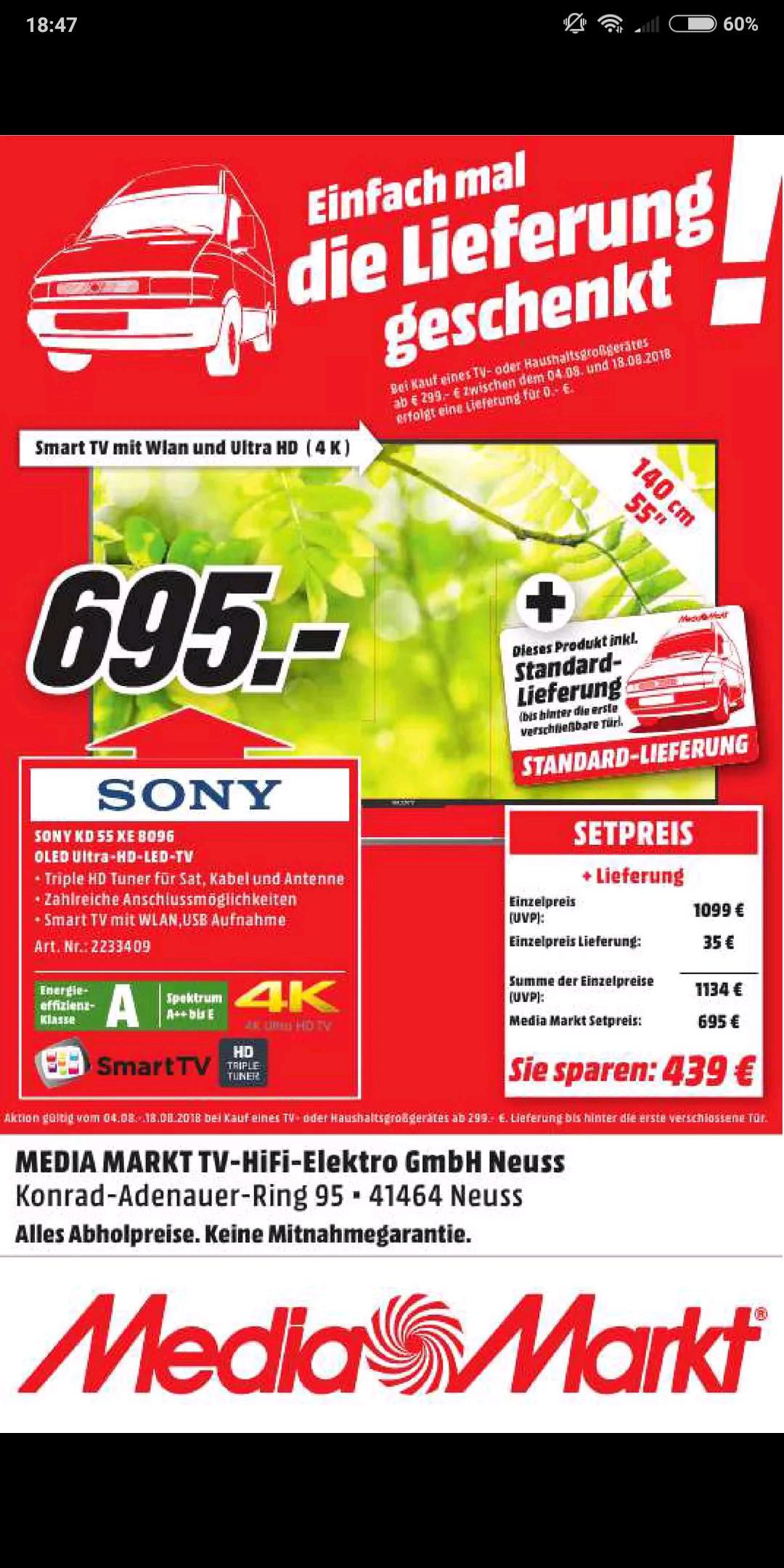 (Lokal Neuss) 55XE8096 inkl. Versand (Preis vlt verhandelbar, Dealbeschreibung beachten bitte! Erst lesen, dann Voten)