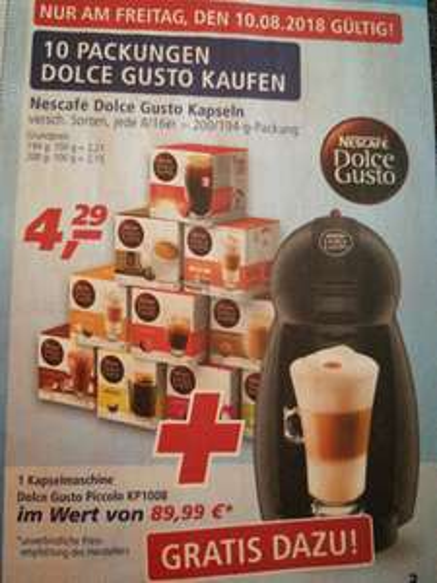 [Real 10.08.2018] Dolce Gusto Kaffeemaschine gratis zu 10 Packungen Kapseln