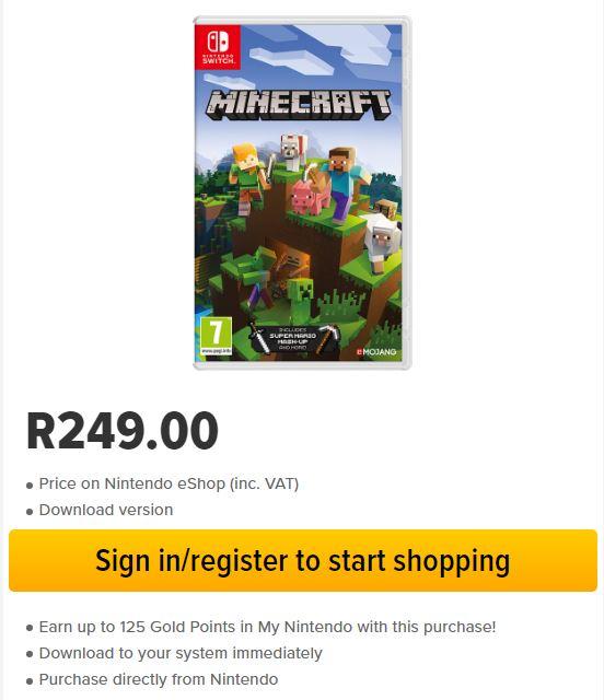 Nintendo Switch Minecraft Download aus dem Süd Afrikanischen eShop (Kreditkarte)