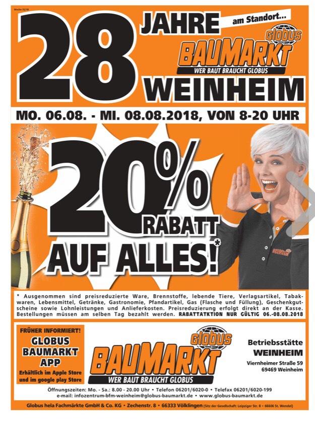 20% auf alles im Globus Baumarkt Weinheim