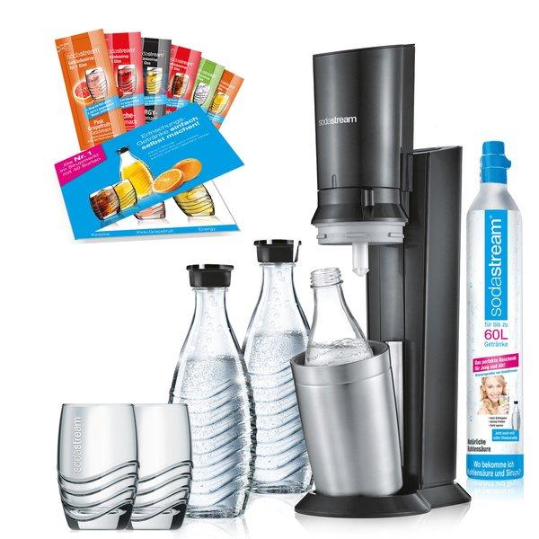 SodaStream Crystal 2.0 titan Promopack Wassersprudler mit 2 Karaffen, 1 Zylinder, 2 Gläser, 6 Sirupproben für 89,99€ mit Check24 Gutschein