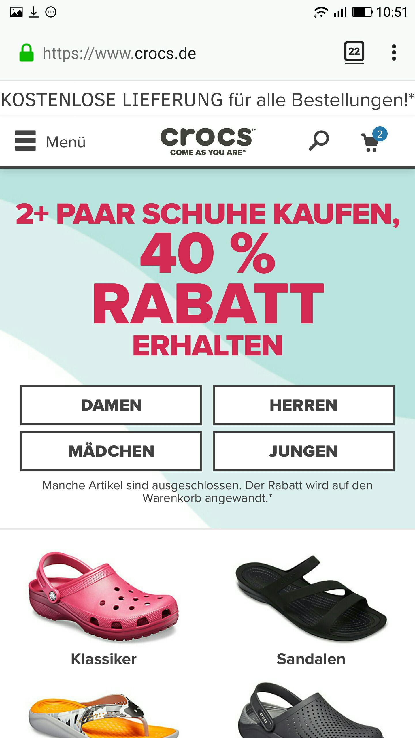 Crocs - 40% Rabatt ab 2 Paar Schuhen versandkostenfrei