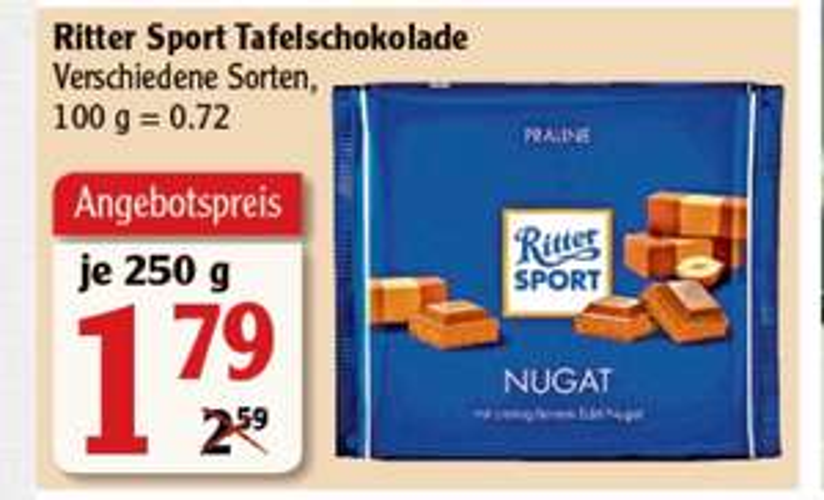 [Globus] Ritter Sport Bunte Vielfalt Große Tafel 250g