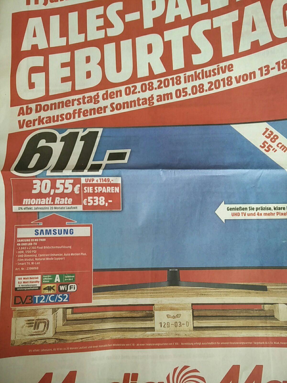 Lokal - Samsung NU7409 138 cm (55 Zoll) LED Fernseher (Ultra HD, HDR, Triple Tuner, Smart TV) - lokal MediaMarkt Stade