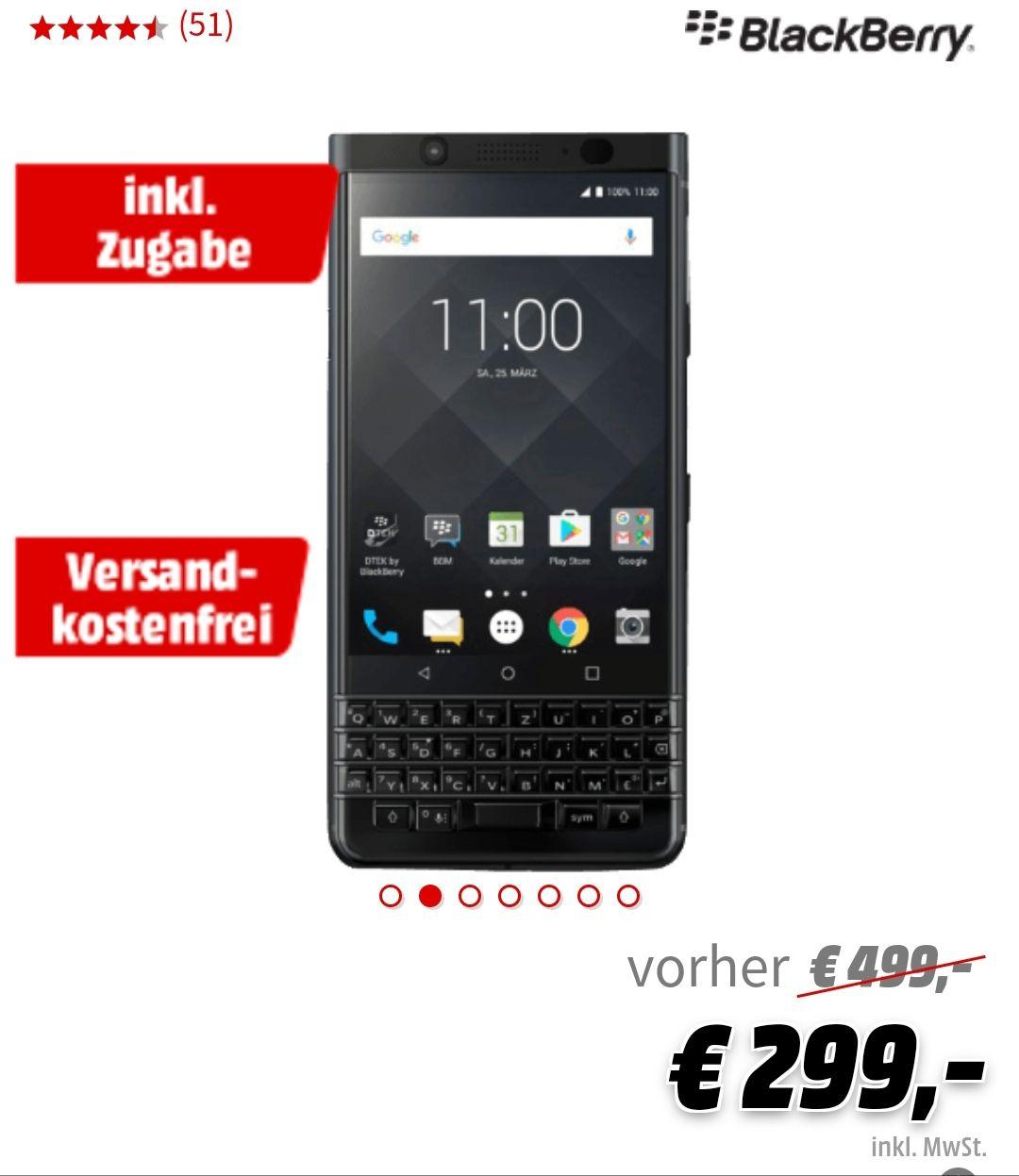 (Media Markt)BLACKBERRY KEYone Black Edition 64 GB Schwarz  + Zugabe Smart Watch XLyne Pro