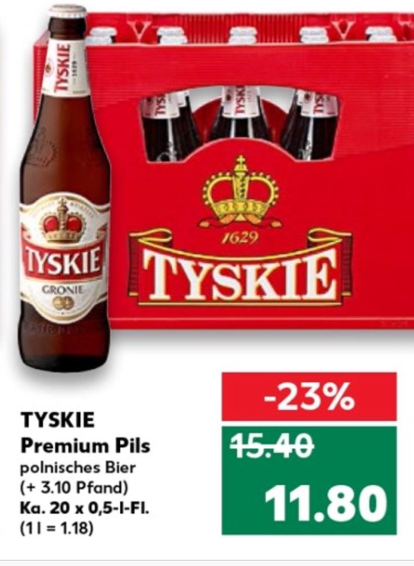 [Kaufland] Tyskie 20x0,5 Kiste für 11,80 zzgl. 3,10 Pfand ab Donnerstag 09.08.2018 im Angebot