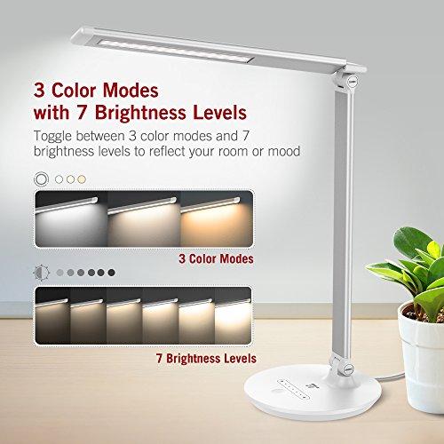 [Amazon Prime]  TaoTronics LED 7W Dimmbare Tischlampe mit 3 Farbmodi und 7 Helligkeitsstufen