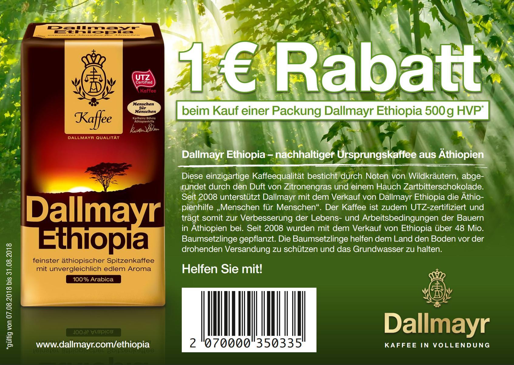 [Globus] 1,00€ Coupon für den Kauf von Dallmayr Ethiopia 500g