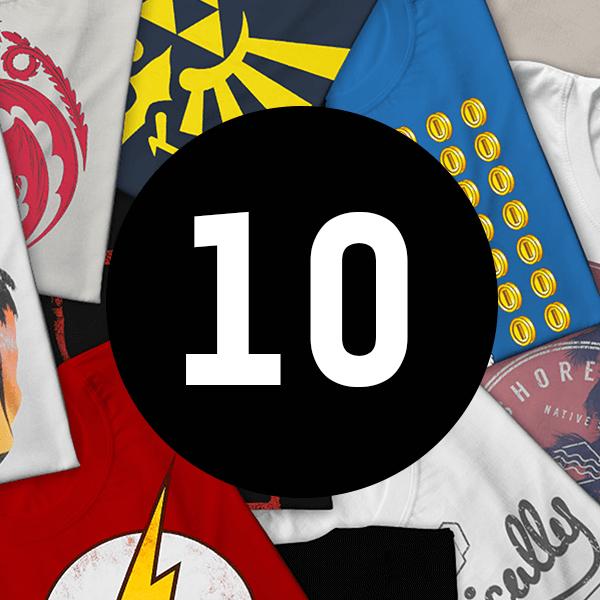 Mystery Geek T-Shirt 10er-Pack - DC, Marvel, Star Wars und viele weitere Franchise + GRATIS Geschenk