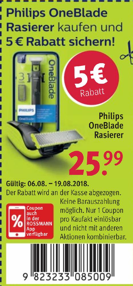 [Ab 06.08] [Rossmann] Phillips One Blade 2520/20 für 18,89€