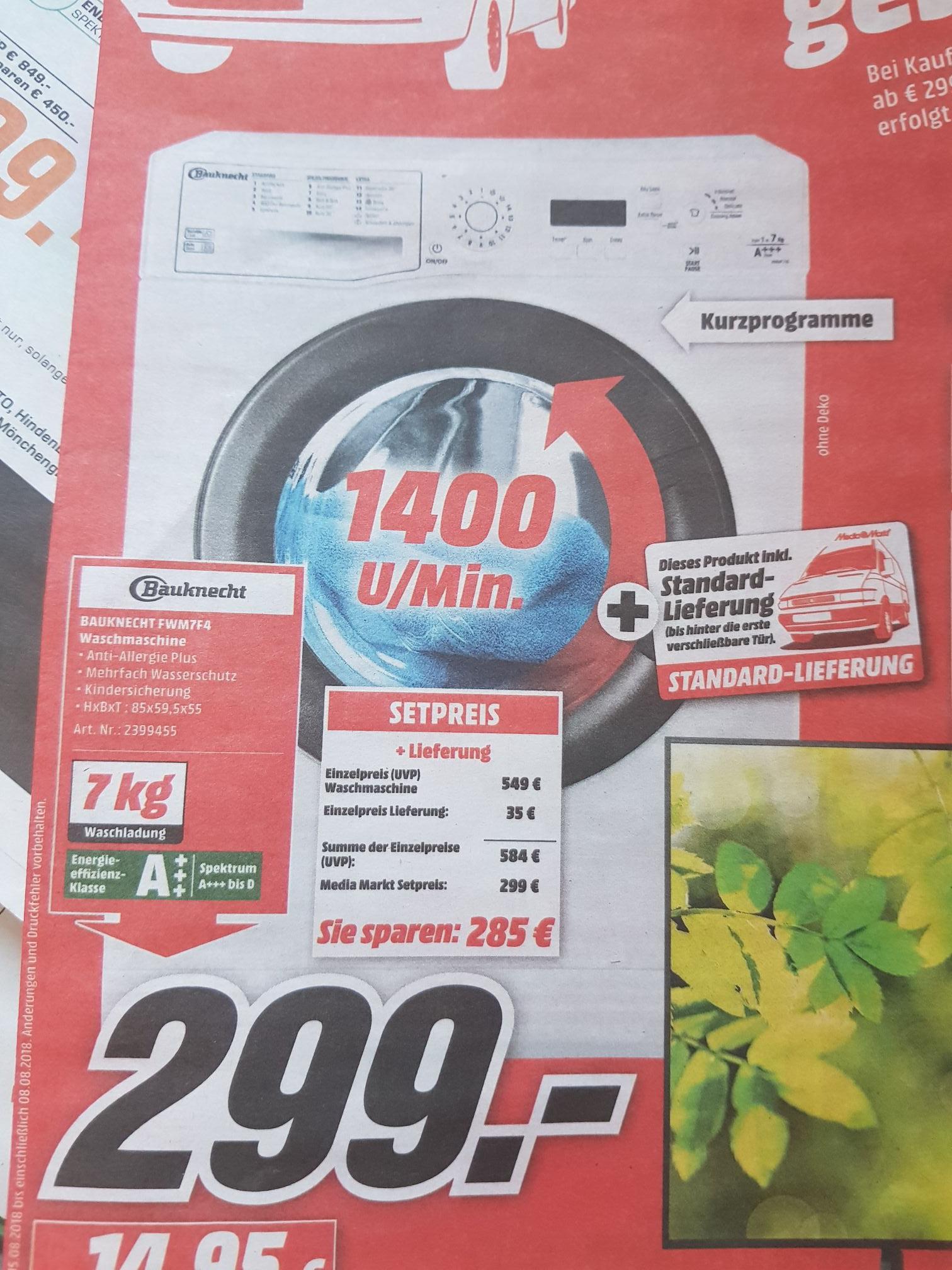 (Media Markt Mönchengladbach) Bauknecht FWM7F4 Waschmaschine inkl.Lieferung A+++