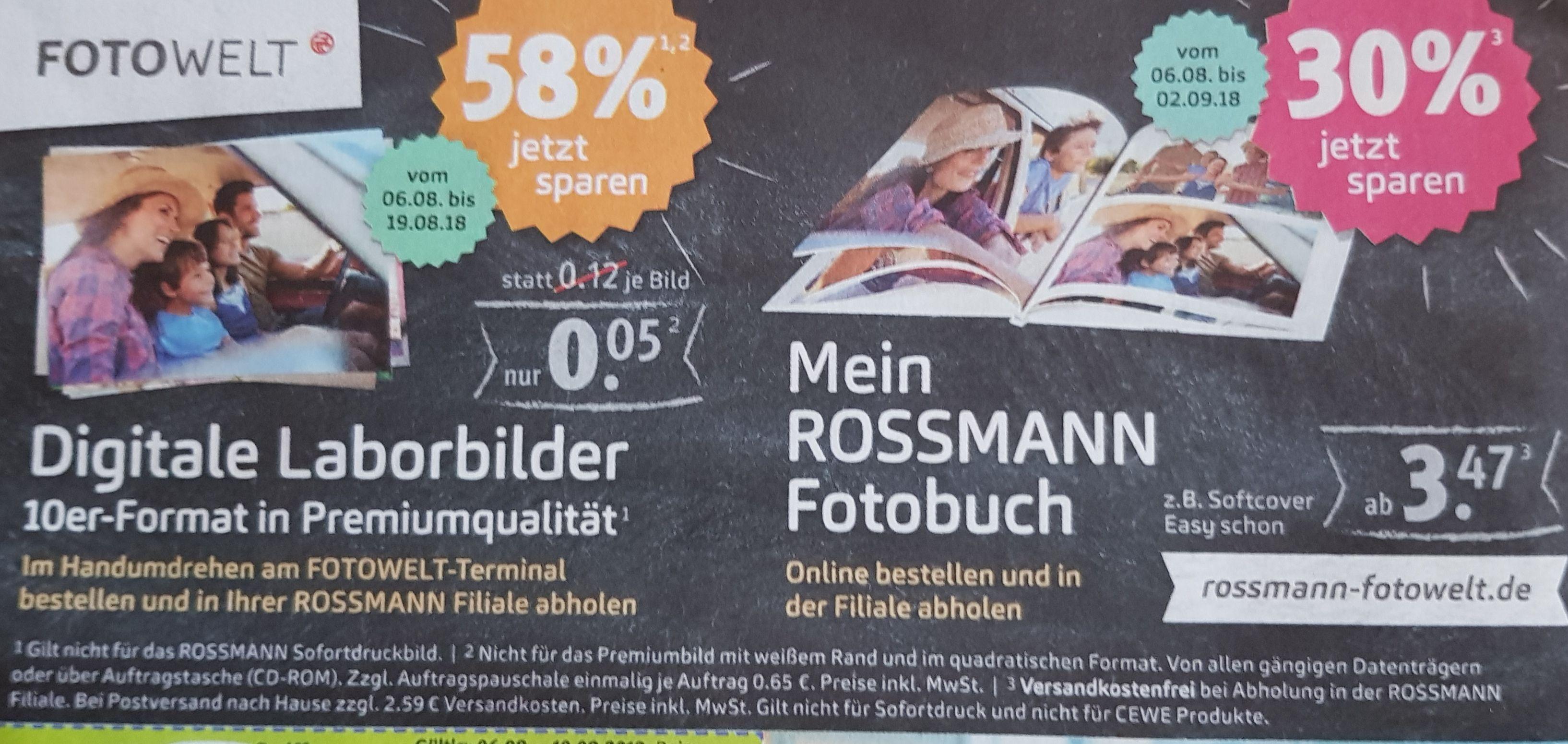 Rossmann Fotoabzüge 0,05€ 10x15 (Laborbestellung) & 30% auf Fotobücher