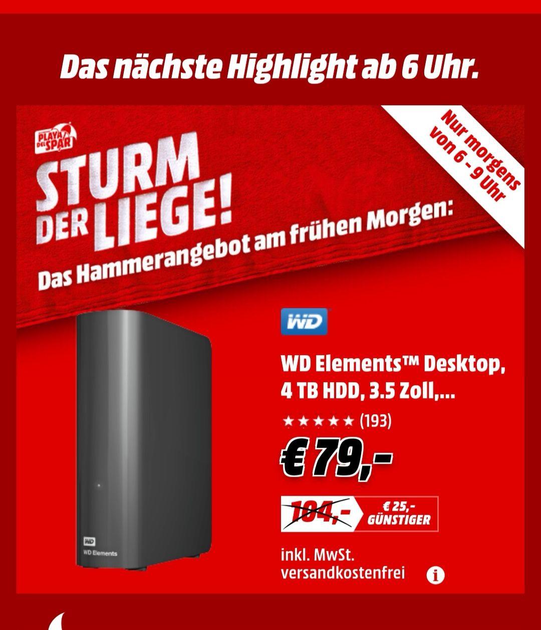 WD Elements™ Desktop, 4 TB HDD, 3.5 Zoll, externe Festplatte Morgen früh von 6 bis 9 Uhr MM