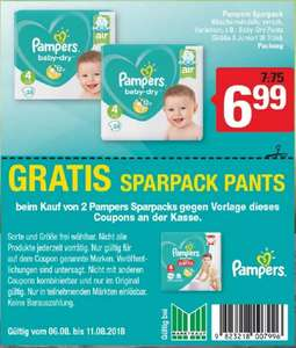 [Marktkauf Espelkamp] 2 Pampers Baby dry Sparpack + 1 Pants Sparpack gratis!