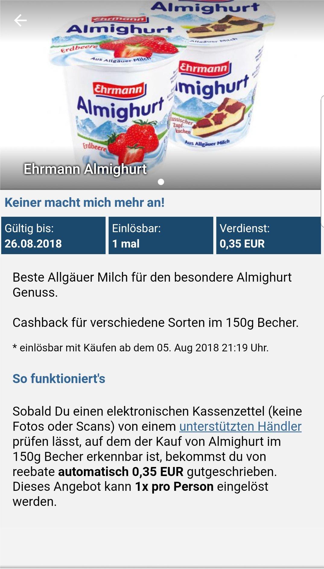 [reebate+REWE] 1x Almighurt gratis + 2Cent