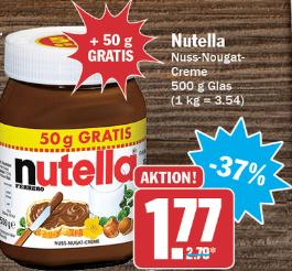 Nutella 450g + 50g gratis für 1,77 € ( 3,54 €/kg) @ HIT Märkte bundesweit ab 06.08.