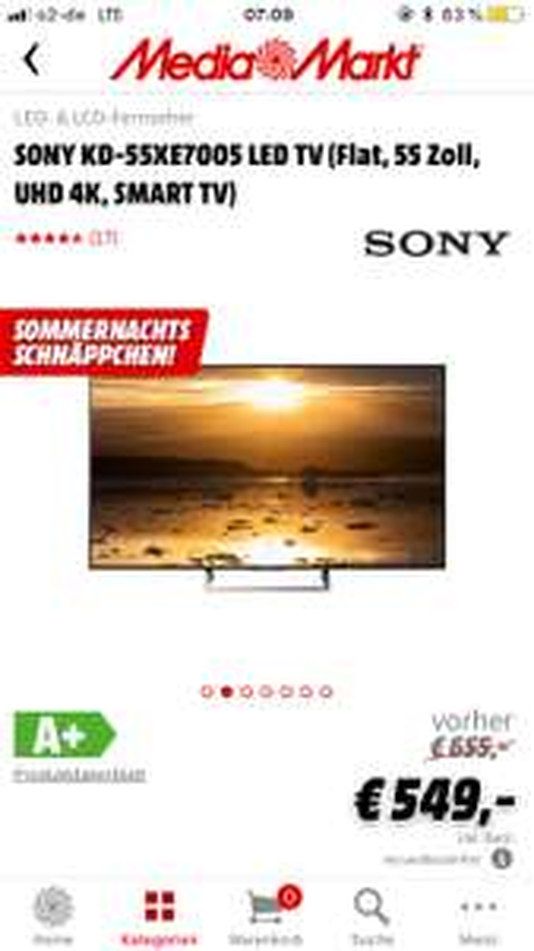 SONY KD 55XE 7005 für nur 549€inkl. Versand