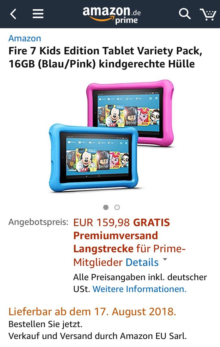 [Amazone Prime] 2 Stück Fire 7 Kids Edition Tablet Variety Pack, 16GB (Blau/Pink) kindgerechte Hülle