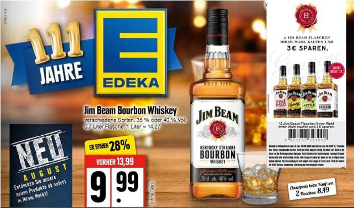 [EDEKA Nord] 2x Jim Beam 0,7l für 16,98€ inkl. Coupon (8,49€ je Flasche)